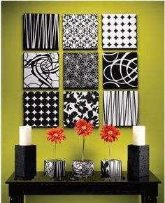 Im so doing this for my Christmas art work who wants to get me the scrapbook paper? The above wall art can easily be created by using 12x12 inch Styrofoam Brand Foam Squares and covering it with scrapbook paper of your choice. At less than $5/sq, this is a really inexpensive way to transform a room in your house. They can be found at any craft store