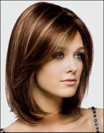 Shoulder length, Swept side bangs, Brown brunette, Rich deep caramel highlights.