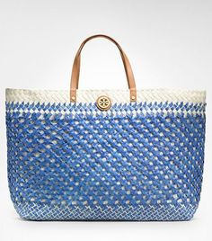 Straw Large Square Tote  Tory Burch beaches, summer styles, squares, tori burch, straw, tory burch, squar tote, summer bags, larg squar