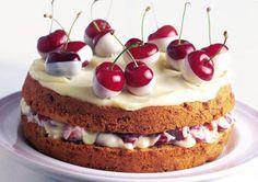 White chocolate dipped cherry cake. Amazing!