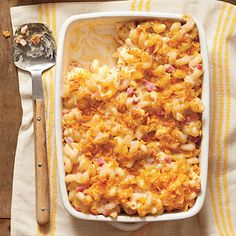 This delicious mac and cheese is light on butter and cheese yet still melts in your mouth. Change the flavor profile of the recipe with combinations such as sweet peas and proscuitto or ham and broccoli.
