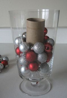 Use a toilet paper roll as a vase filler! This is a good tip for all that Christmas decor!