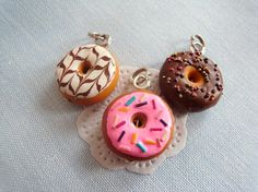 Cute donut charms (polymer clay) from   WellDoneAccessorize