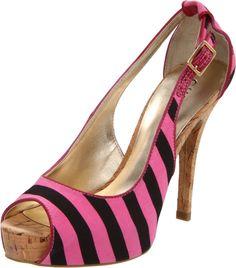 GUESS Pink & Black Striped Heels.  LOVE THEM!!!