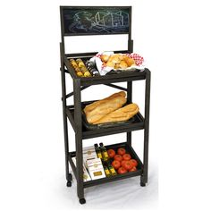 Wooden Three Shelf Display with Chalkboard and Wheels