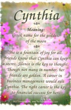 Cynthia on Pinterest   Moon Goddess, Name Meanings and ...