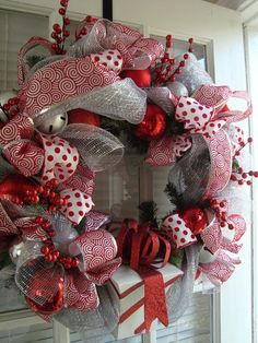 Silver and Red Chrismas Wreath by crossingstems on Etsy. I love red and white and silver!!! I could totally make this (in all my spare time..... :P ) decor, christma wreath, christmas wreaths, gift boxes, silver christmas, chrisma wreath, red chrisma, white christmas, red christmas