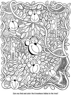 Welcome to Dover Publications sketch, monkey color