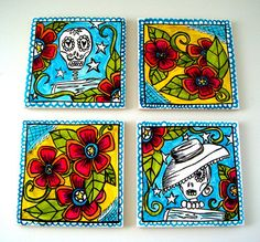 Ceramic Coasters Tiles Day of the Dead Sugar Skulls Folk Art Flowers Mexican dia de los muerto calavera hand painted on Etsy, $45.00...for Joe to use in the BBQ skull, tile art, art tiles, folk tiles, mexican folk art, painted flowers, ceramics, art flowers, tile coasters