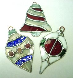 Set of 3 STAINED GLASS CHRISTMAS ornaments