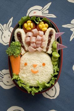 Bunny Sandwich bento box, kid lunches, lunch boxes, sandwich, kids, kid foods, box lunches, easter bunny, bunni bento