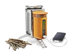Biolite Energy Stove. Burns wood to generate electricity. Also can be used to heat/cook meals.