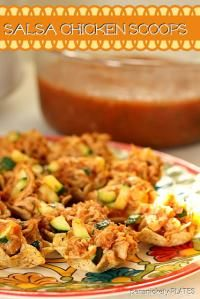 Salsa Chicken Scoops with Zucchini on MyRecipeMagic.com. Perfect for any party or football game snacks!
