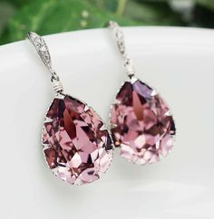 Bridal Earrings Bridesmaid Earrings cubic zirconia ear wires and Antique Pink Swarovski Crystal Tear drop dangle earrings wedding jewelry. $31.90, via Etsy.