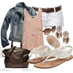 Outfit summer looks, summer outfits, jean jackets, summer nights, white jeans, earring, white shorts and jean jacket, shoe, jean jacket outfits summer