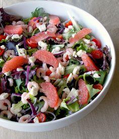 Grapefruit, Shrimp, & Feta Salad with Grapefruit Vinaigrette