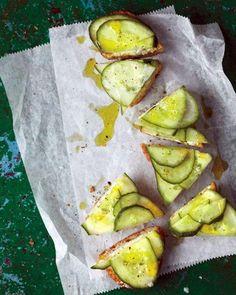 Cucumber-Feta Toasts Recipe