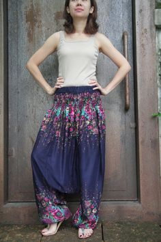 Colorful Floral printed Harem Pants,Yoga Pants,Wide Leg Pants,Plus size. $29.00, via Etsy.