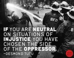 desmond tutu, injustic, truth, inspir, polit, neutral, quot, thing, live
