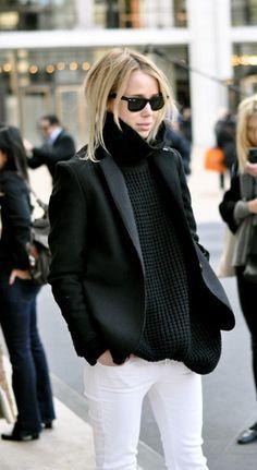 white jeans + black blazer + black scarf or back leather jacket!! Love!!