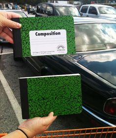 Tip: Cut composition notebooks in half for kids