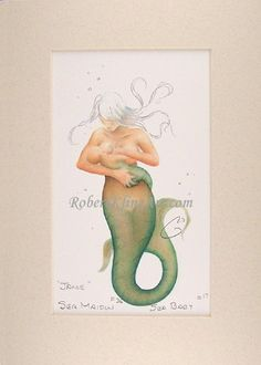 Mermaid Mother Jane Nursing Baby Art Signed by OrionsTreasures, $25.00