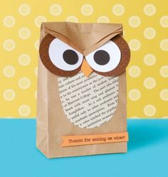 "DIY owl ""Thanks for making me wiser"" gift bag - great for a teacher gift bag!"