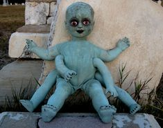 this was sold but good for inspiration.  Creepy Scary Macabre Baby Doll - Nightmare Fuel - Display Piece or Halloween Prop via Etsy