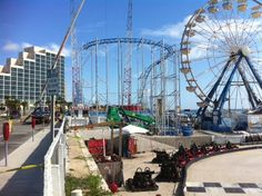 Crews installing roller coaster at Daytona Beach