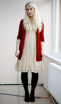 cardigan, red, cream dress, tights, black