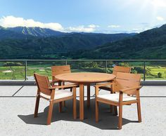 Tampa 5 Piece Eucalyptus Wood Round Patio Dining Set With Off-White & Beige Striped Cushions