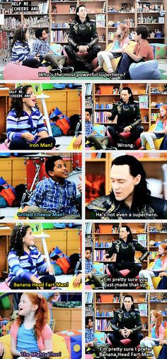 okokok....even better oh come on....ITS GOT LOKI IMPERSONATING DAT DUDE ON DA AT&T COMMERCIALS!!! comedy central, stuff, bananas, lokis kids, aveng, loki and kids, marvel funnies, superhero, tom hiddleston