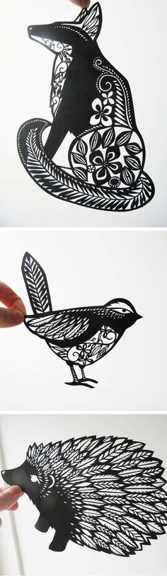 Animal paper cut outs / emily hogarth -  #fox #bird #geometric #tattoo #ideas