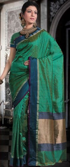 Teal #Green Pure #Banarasi Valkalam #Silk #Saree with Blouse @ $184.64 | Shop @ http://www.utsavfashion.com/store/sarees-large.aspx?icode=snn55a