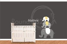 Elephants with Name Wall Decal  Carters Theme Wall by Round321, $85.00