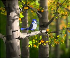 A paint chip blue jay sitting on a tree branch.