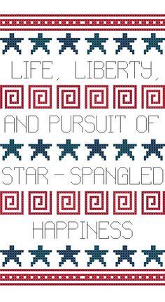 free cross stitch pattern - star spangled happiness