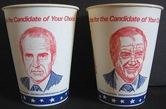 Vintage 1972 Presidential Election NIXON MCGOVERN Political Paper Cups