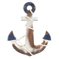 Blue & white anchor wall plaque.  For the nautical theme at the cabin.