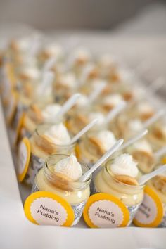 Baby food jars! Cute! Yogurt with fruit to go with the brunch theme?