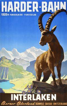 a vintage tourism-ad for the Harder at Interlaken/Switzerland