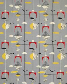 mobiles grey by marian mahler. designing women post-war british textiles: exhibition at fashion and textile museum, london.