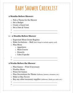 Baby shower checklist to do 39 s for Baby shower decoration checklist