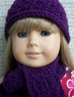 American Girl Doll Hat & Scarf Set - Purple $6.00