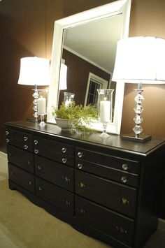 Sample of how someone has refinished a dresser from a thrift store - I could do this for the dining room. I like the inexpensive accessories too. Bedroom Dressers, Bedroom Decor, Dark Stain, Bedroom Lamp Ideas, Bedroom Dark Furniture, Bedroom Furniture Ideas, Platform Beds, Thrift Store, Bedroom Dresser Decorating