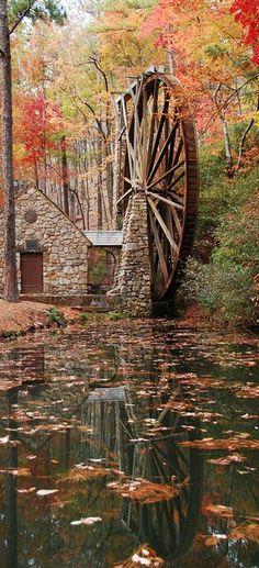mill, water wheels, colleges, autumn, berri colleg, waterwheel, place, berries, mount berri