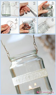 Lace... :) recycled glass, hanger, candle holders, wedding lanterns, hang mason, mason jars, garden, diy wedding, tea lights