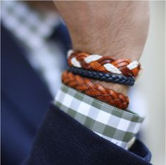 Leather braided bracelets.