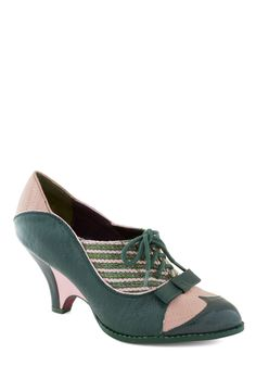 Oxford Heel in Green and Rose by Poetic License