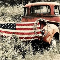 Old truck with american flag